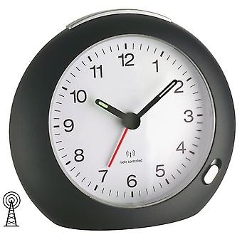 Radio alarm clock in black with illuminated dial including battery