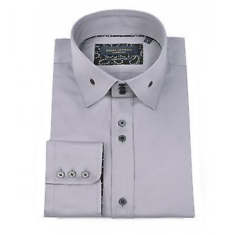 Guia Londres inteligente Sateen gola alta Mens a camisa de algodão