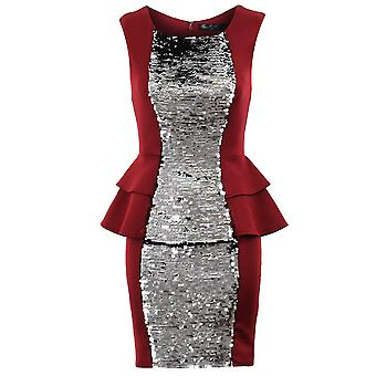 Ladies Silver Black Gold Sequin Double Peplum Plain Back Bodycon Womens Dress