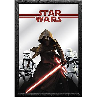 Star Wars Episode 7 wall mirror Kylo Ren casewrap, plastic framing black, wood look.
