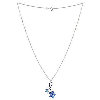 TI2 Titanium 30mm Double Drop fünf Blütenblatt Blume Anhänger - blau