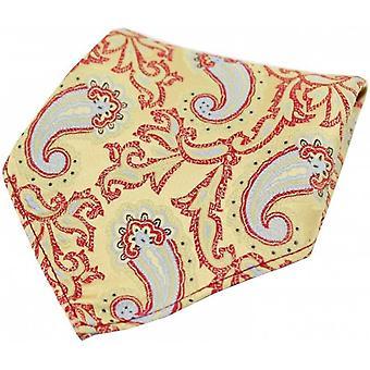 David Van Hagen Large Edwardian Paisley Silk Pocket Square - Gold