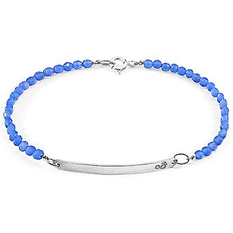 Âncora e tripulação pureza ágata prata e pulseira pedra - azul