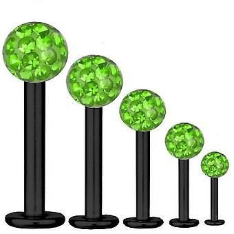 Labret Bar Tragus Piercing zwarte Titanium 1, 2mm, Multi Crystal Ball groen | 5-12