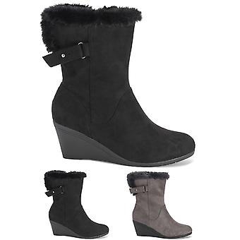 Womens Low Wedge Heel Adjustable Wide Calf Faux Fur Lined Mid Calf Boots UK 3-10