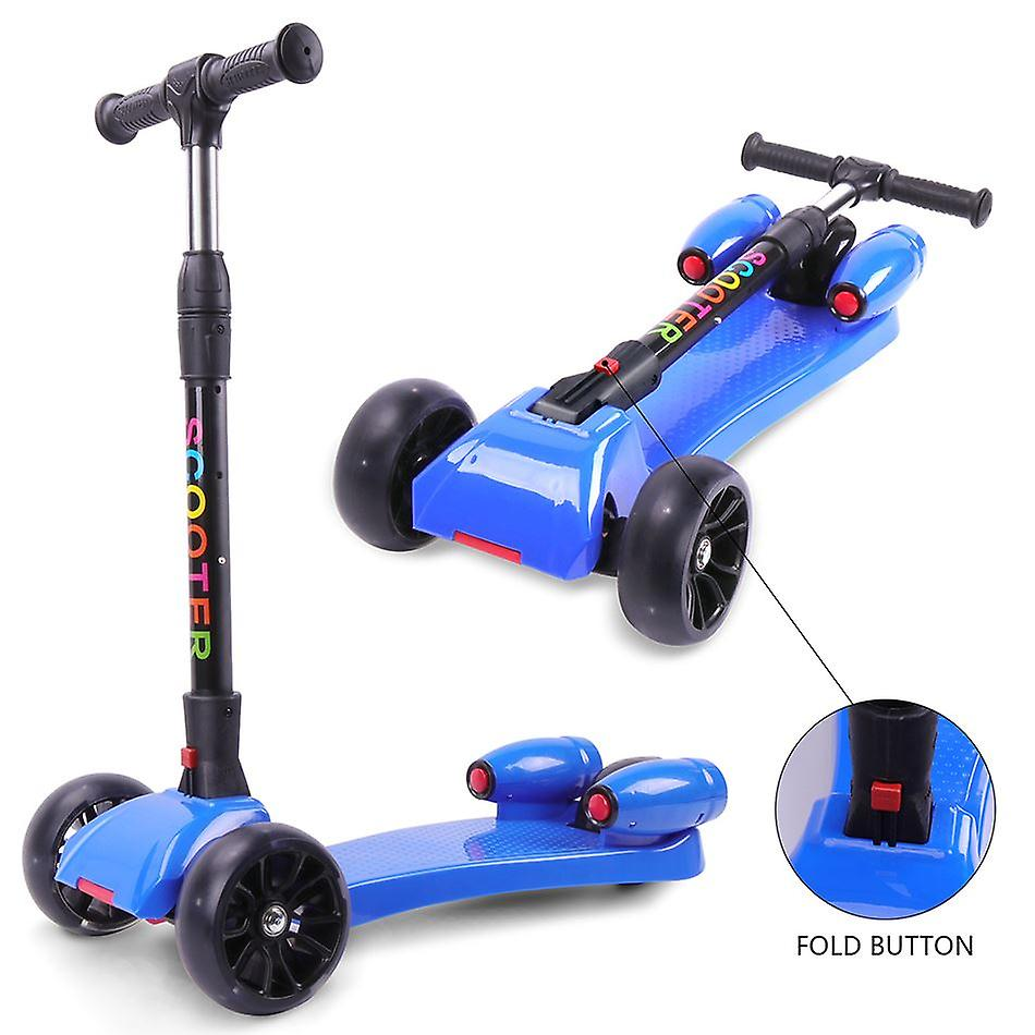 Evercross Kids Scooter Foldable Kick Scooter,3 Wheel Luminous with 2 Rockets of emission Steam Patinette Height Adjustable for children Aged 3-9