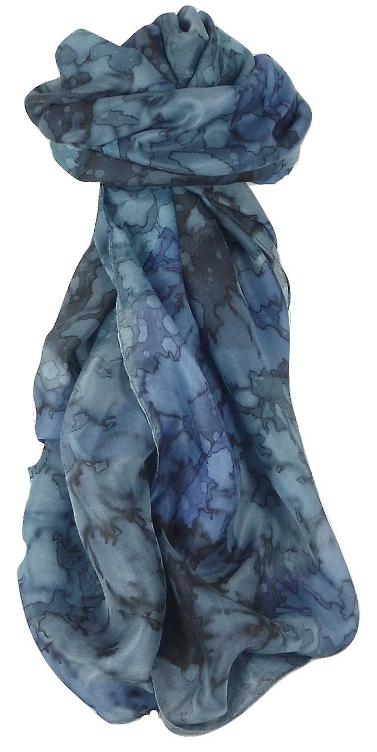 Mulberry Silk Hand Painted Long Scarf Classic French Blues by Pashmina & Silk