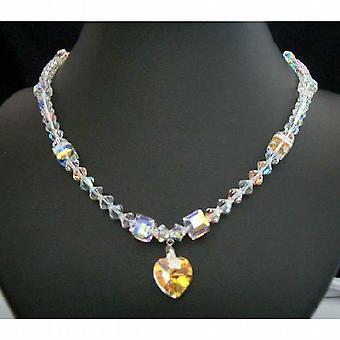 قلب كريستال سواروفسكي AB قلادة قلادة يدوياً المجوهرات المخصصة