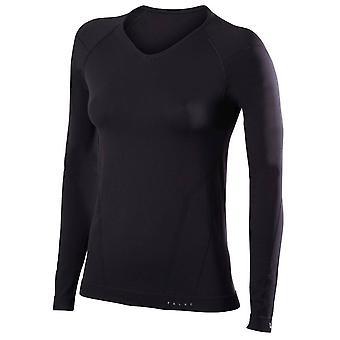 Falke apertado cabe V pescoço camisa de manga comprida - preto