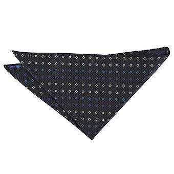 Negro con azul y amarillo diamante Mini geométricas Plaza de bolsillo