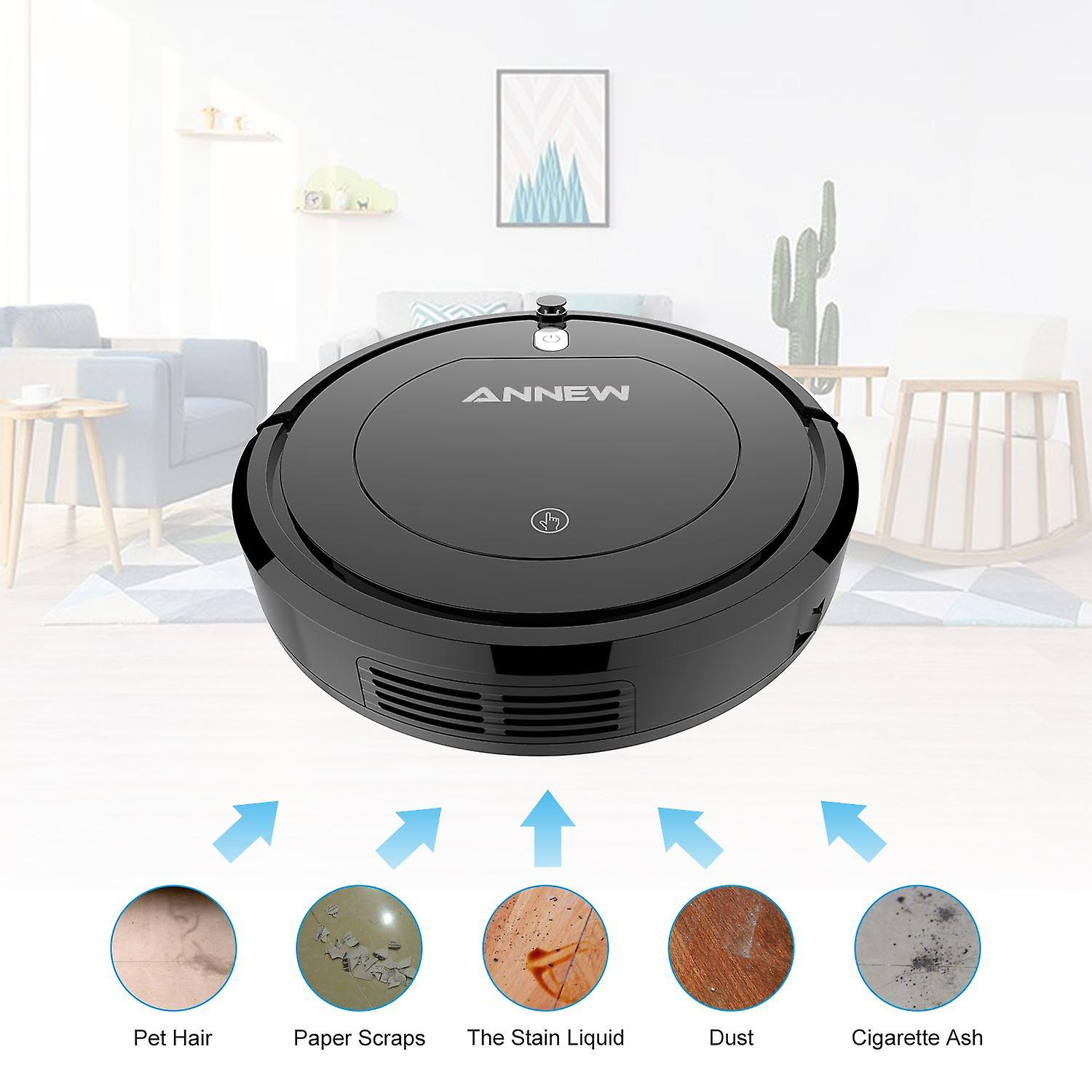 ANNEW Robot Vacuum Cleaner-Smart Home Cleaner With Strong Suction,3 Cleaning Modes,Super Quiet.Remote Control.HEPA Filter-Good for Pet Hair, Carpets, Hard Floors