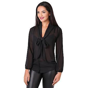 KRISP Womens sehen durch Chiffon Bluse Fliege Top Langarm Smart Shirt