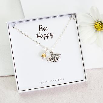Bee Happy Silver Plated Necklace Charm