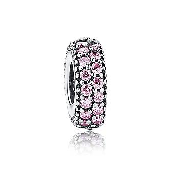 Sterling silver spacer with zirconia stones pink