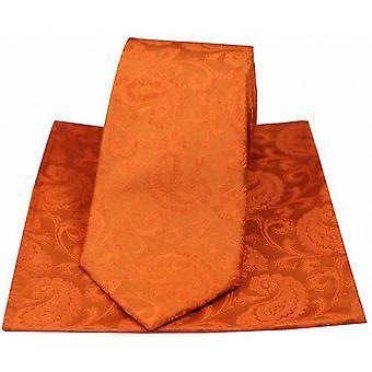 David Van Hagen Paisley Woven Tie and Pocket Square Set - Orange