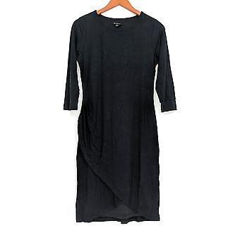 H de Halston 3/4 Manga Drapeada Vestido de Punto Delantero Negro A280164