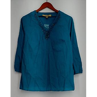Motto Embellished 3/4 Sleeve V Neck Tunic Blue Top A212786