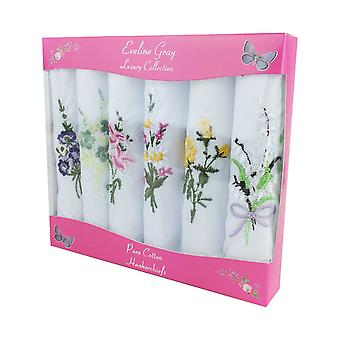 6 Pack Women's/Ladies Boxed White Handkerchiefs With Coloured Floral Embroidery, 100% Cotton