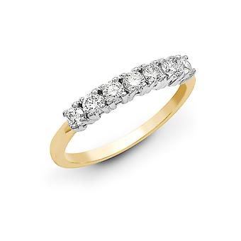 Jewelco London Solid 18ct 2 Colour Gold 4 Claw Round G SI1 1ct Diamond 7 Stone Eternity Ring 4mm