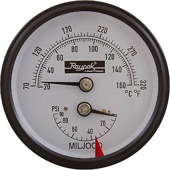 Raypak 007205F Temperature and Pressure Gauge