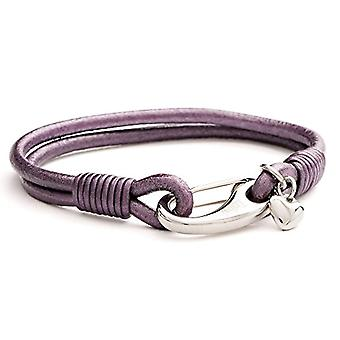 Tribal Steel Purple leather women's bracelet with large hook closure and heart-shaped Charm
