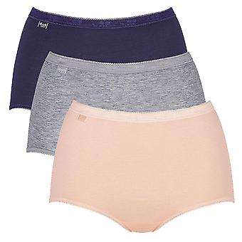 Sloggi Women Basic 3 Pack Maxi Brief, Navy/Peach/Grey, Size 32