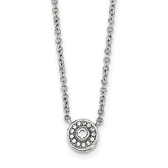 925 Sterling Silber poliert offenen Frühling Ring CZ Zirkonia simuliert Diamant Halskette 16 Zoll Schmuck Geschenke fo