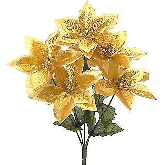 30cm kunstmatige gouden Poinsettia spray-stam voor bloemschikken ambachten