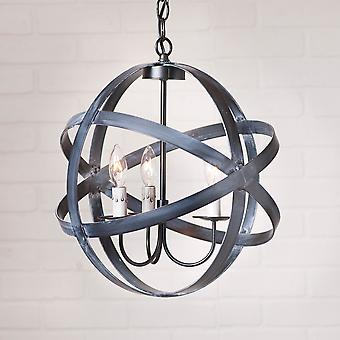 Irvin's Country Tinware 15-Inch Strap Sphere Chandelier in Black