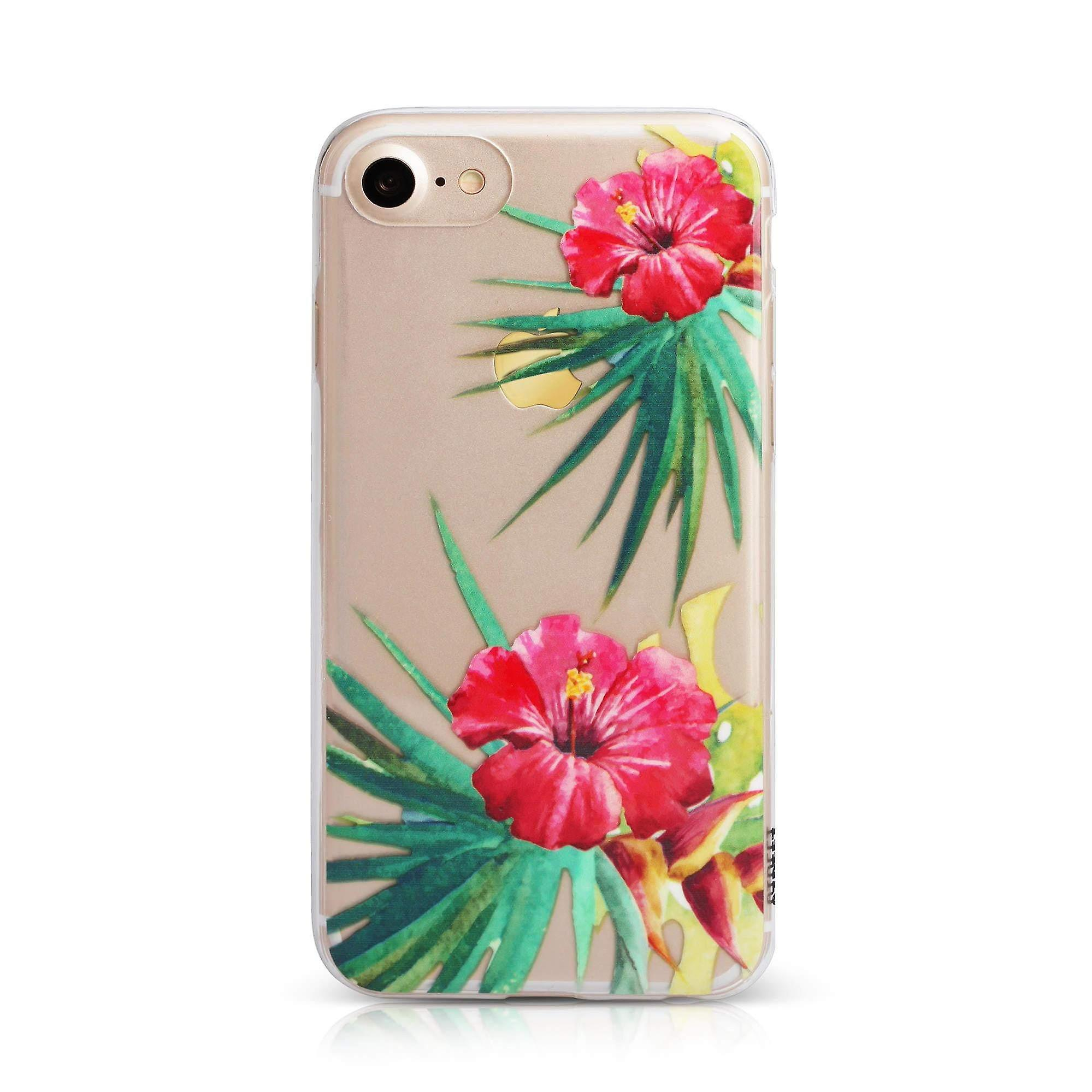 Clear/Red Printed Floral iPhone 8 / 7 / 6 Case