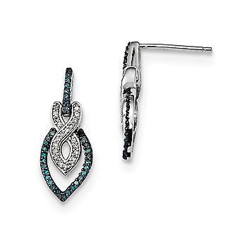 925 Sterling Silver Gift Boxed Rhodium verguld blauw en wit diamant bungelen Post Oorbellen Sieraden Geschenken voor vrouwen
