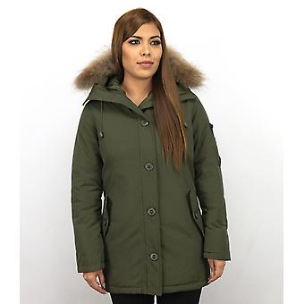 Long Parka Coat - With Fur Collar - Green
