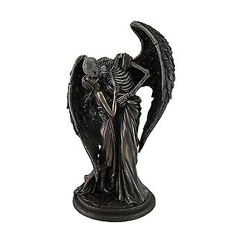 The Kiss of Death Antique Bronze Finish Winged Skeleton Statue
