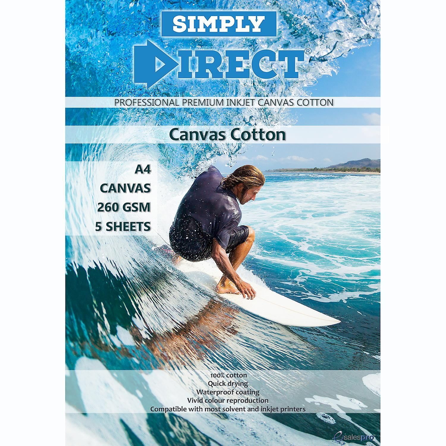 5 x Simply Direct A4 Cotton Canvas Printing Paper - 260gsm - Professional Premium Inkjet Paper