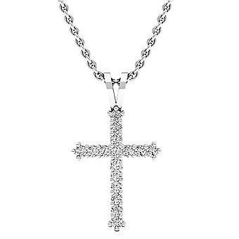 Dazzlingrock Collection 0.25 Carat (ctw) 10K Round Diamond Women's Cross Pendant 1/4 CT (Silver Chain Included), White Gold