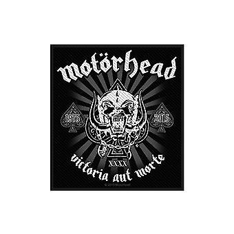Motorhead Patch Victoria Aut Morte Official New Black Cotton Sew On 10cm x 9cm