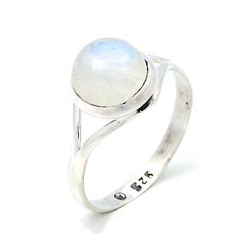 Ring Silver 925 Sterling Hopea Sateenkaari Kuukivi Valkoinen Kivi (Nr: MRI 140-04)