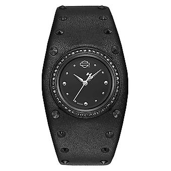 Harley Davidson Womens Studded Leather Cuff | Black Dial 78L128 Watch