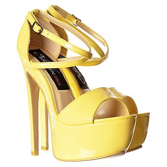 Onlineshoe Strappy Cross Over Pastel Stiletto Platform High Heel Party Shoes - Pink, White, Yellow