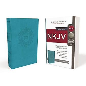 NKJV Value Thinline Bible Compact Leathersoft Blue Red