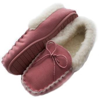 Ladies Genuine Pink Sheepskin Moccasins Hard Sole with Wool Cuff