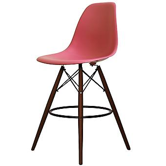 Charles Eames Style Pink Plastic Bar Stool - Walnut Legs