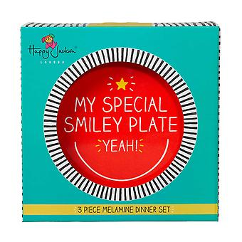 Smiley Melamine Dinner Set by Happy Jackson