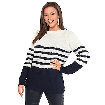 KRISP Dames Loose Jumper Gestreepte Chunky Knit Casual Baggy Sweater Pullover Top