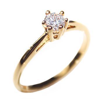 Ah, não! Joalharia Ouro preenchido anel solitário de diamante simulado, GL carimbado