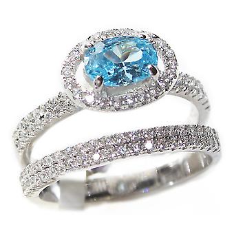 Ah! Jewellery Finest 7.5mm Sea Blue Oval AAA Highest Grade CZ Wedding Ring and Band Set