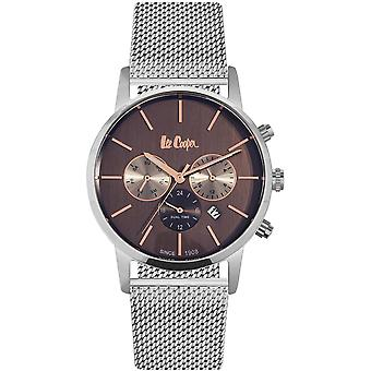 Shows Lee Cooper-LC06342-540 - chronograph Bracelet steel Milanese Silver Dial Brown man