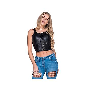 P UK Black Short Lace Up Leather Look Crop Top