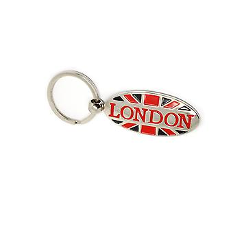Metal London Souvenir Keyring , Oval Shaped Union Jack Flag