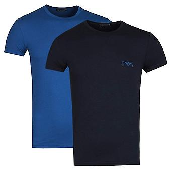 Emporio Armani 2-Pack Stretch Cotton Crew Neck T-shirt, Navy / Blue, Large